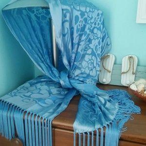 Blue Silk Fringe Scarf